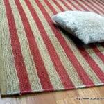 Hemp Rugs Flatweave Pearl Red Stripe