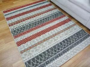 Modern Area Floor Rugs Feature Carved Cream Beige Lines n Waves Design