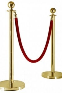 Gold Sphere Bollard Stands and Velvet Ropes Queue Barriers Crowd Control